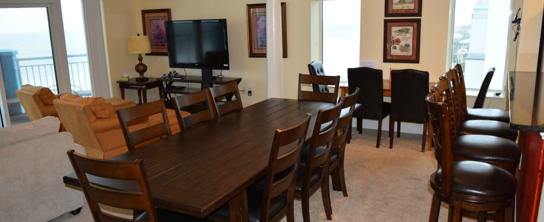 Vacation Rental Myrtle Beach Oceanfront Dining Room